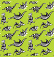 dinosaurs skeletons silhouettes seamless pattern vector image