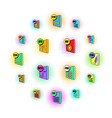 file format icons set pop-art style vector image vector image