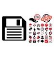 Floppy Flat Icon with Bonus vector image