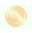 Golden coin with reflections isolated on vector image