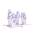 group of business people walking doodle vector image