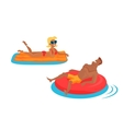 Happy Family Bathing in the Sea vector image
