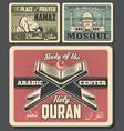 islam religion retro cards namaz mosque and quran vector image vector image