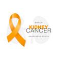 march - kidney cancer awareness month orange vector image
