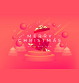 merry christmas and happy new year with red gift vector image vector image