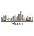 miami usa city skyline with gray buildings vector image vector image