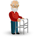 older man on a walker needs medical care may vector image vector image