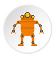orange abstract robot icon circle vector image vector image