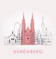 outline nuremberg skyline with landmarks vector image vector image