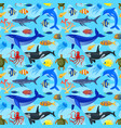 pattern with ocean animals vector image vector image