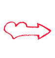 red heart arrowchalk clipart for st valentine vector image vector image