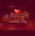 red heart with floral decoration background vector image vector image