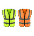 reflective orange vest green construction jacket vector image