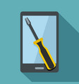 renovation phone icon flat style vector image vector image
