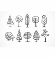 set doodle sketch trees on white background vector image