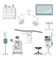 set with medical furniture and equipment of a vector image vector image