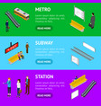 subway station banner horizontal set isometric vector image vector image