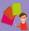 teacher male with school notebooks vector image vector image