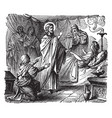 the raising of jairus daughter - jesus brings a vector image vector image