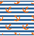 tile sailor pattern with orange anchor on navy vector image vector image