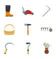 village tool icon set flat style vector image