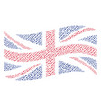 waving united kingdom flag collage of barbed wire vector image vector image