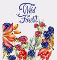 wild forest fruits bouquet card vector image vector image