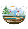 Winter Windmill Island4 vector image vector image
