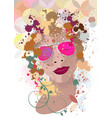 woman portrait in profile with stains vector image vector image