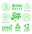 zero waste green signs set vector image