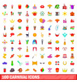 100 carnival icons set cartoon style vector image vector image