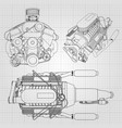 a set of several types of powerful car engine the vector image vector image