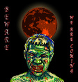 Angry zombies with dark background vector image