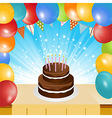 Birthday cake balloons and bunting background vector image