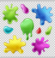blue pink orange green blobs set vector image