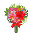 bouquet of tropical flowers and green leaves with vector image vector image