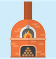 brick pizza oven with fire vector image