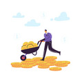 businessman character with cart full of money vector image