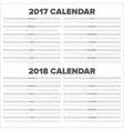 Calendar 2017 2018 vector image