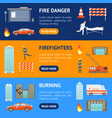 cartoon firefighting in city banner horizontal set vector image vector image