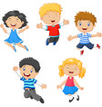 children jumping together vector image