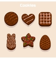 Chocolate cookies in different shapes set vector image vector image