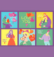 collection valentines day cards vector image