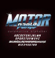 cool automotive typeface vector image vector image