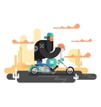 Cool biker on a motorcycle vector image