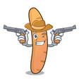 cowboy baguette character cartoon style vector image