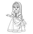 cute girl in princess costume outlined vector image vector image