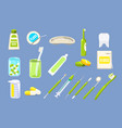 dentist tools sett dental care equipment teeth vector image