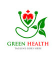 green love health logo vector image vector image