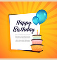 happy birthday greeting card with cake and vector image vector image